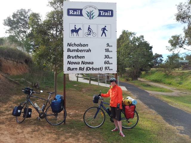 Starting the rail trail in Bairnsdale