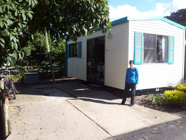 Jen at the caravan park