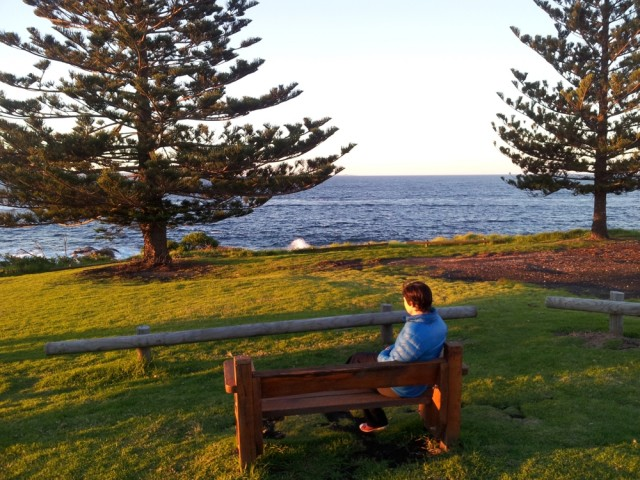 Watching the sun set in Bermagui