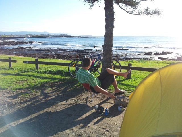 Relaxing by the tent in Shellharbour.