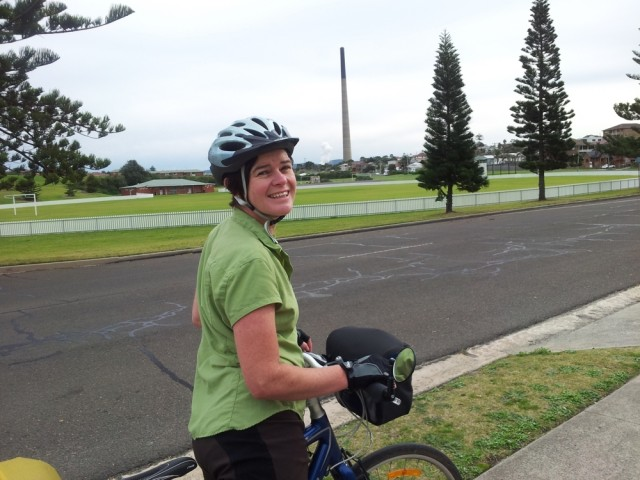 Cycling through suburbs with the huge ever-present chimney
