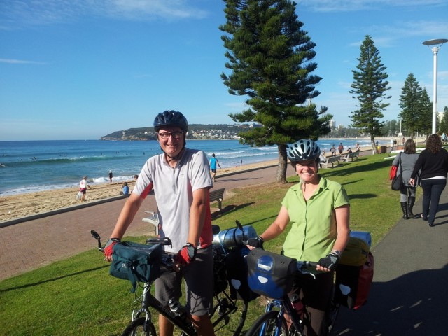 Starting the day cycling along Manly Beach