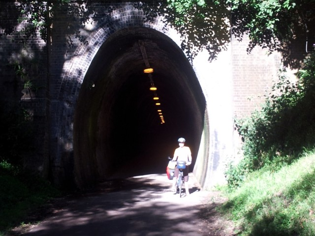 Old railway tunnel with lights