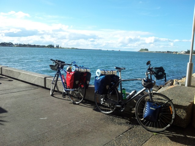 Bikes waiting to board the ferry while we had a beer.