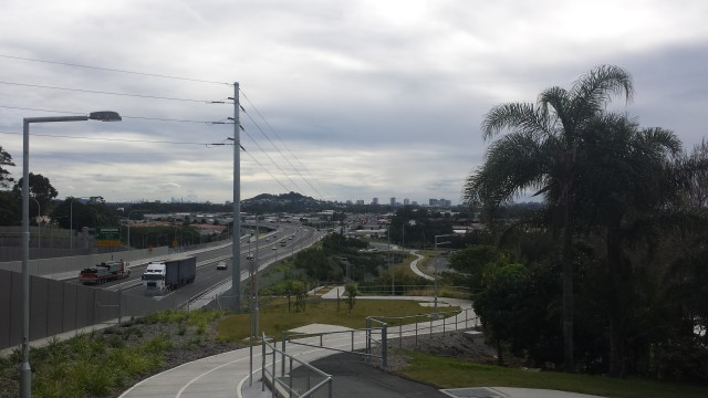 Cycle path next to the motorway with our first view of the Gold Coast